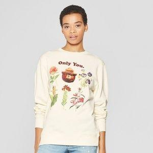 Floral Print Smokey Bear Cropped Sweatshirt